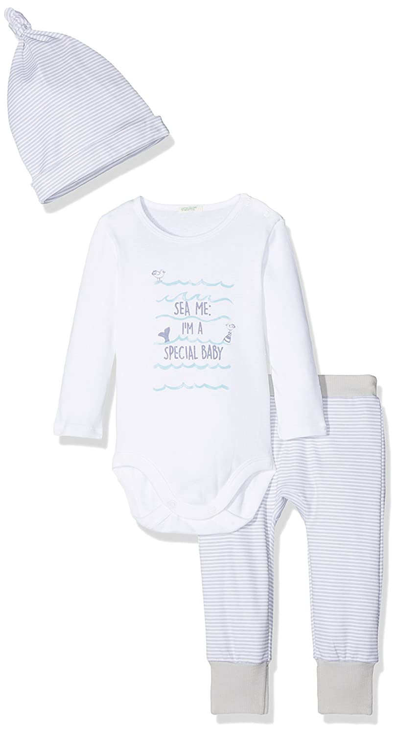 United Colors of Benetton Baby-Jungen Bekleidungsset Body+ Trousers + Cap 3C78MB070