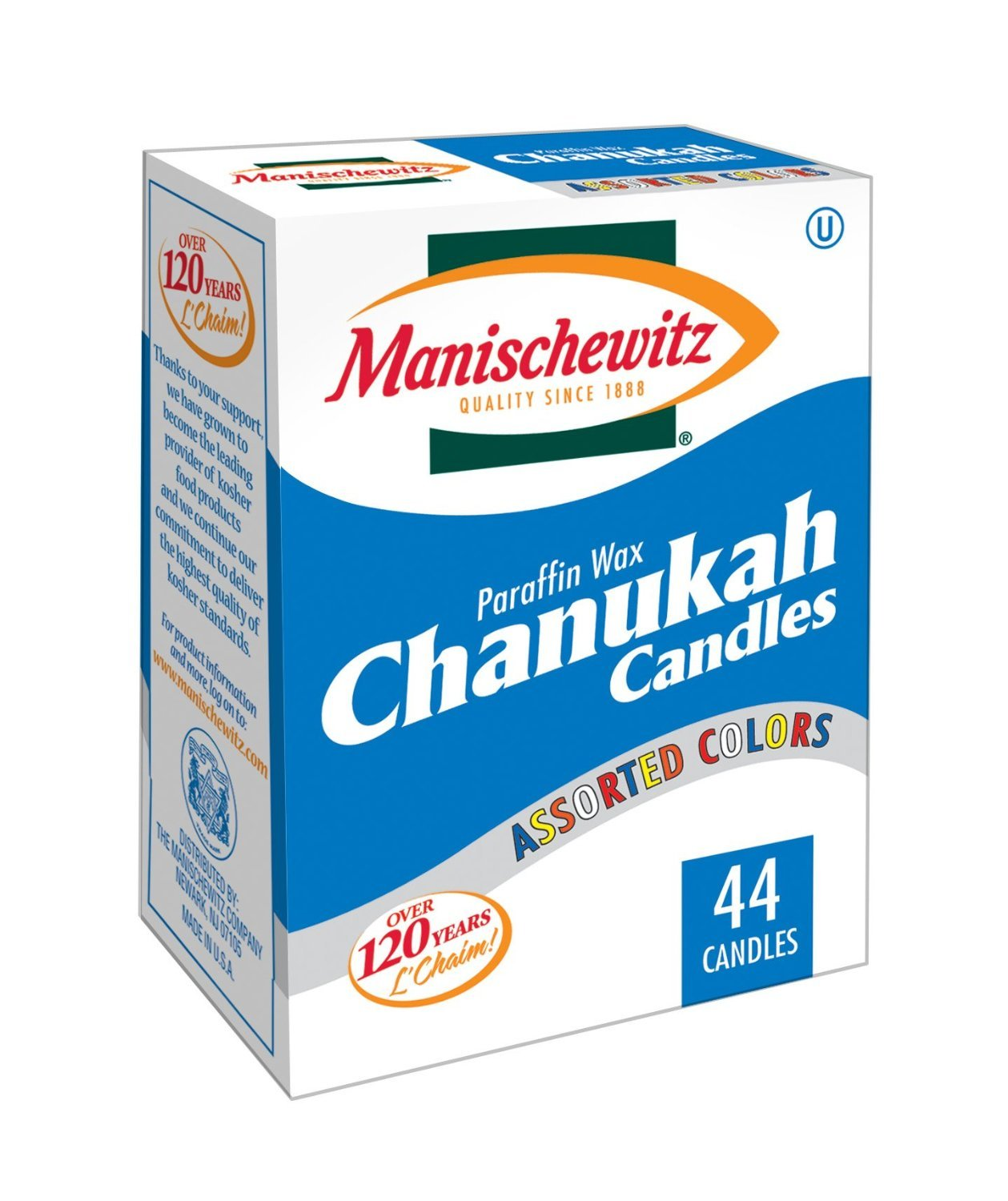 Manischewitz Chanukah Candles Colorful - 44 Ct (Pack of 6)