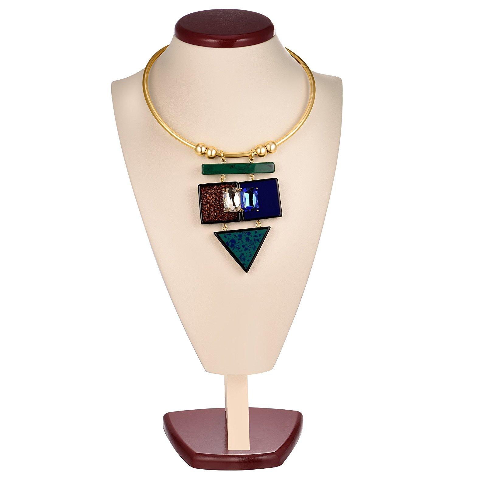 XUSY Women's Choker Collar Necklace Round Shiny Gold (Style D)