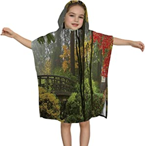 C COABALLA Wooden Bridge at Portland Japanese Garden in Fall One Fogg Morning Panorama,Kids Soft Cotton Hooded Poncho Bath Towel for Bos