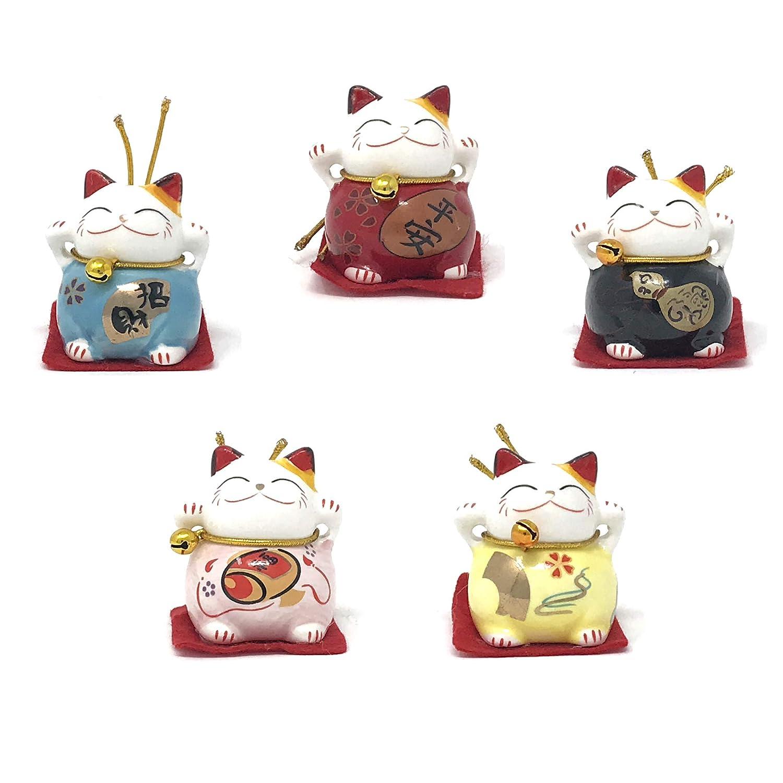 Farship Lifestyle Maneki Neko Lucky Cats Ornaments, Set of 5 for Happiness  & Peace
