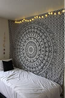 The Boho Street   Exclusive Twin Black And White Elephant Tapestry,  Beautiful Indian Wall Art Gallery