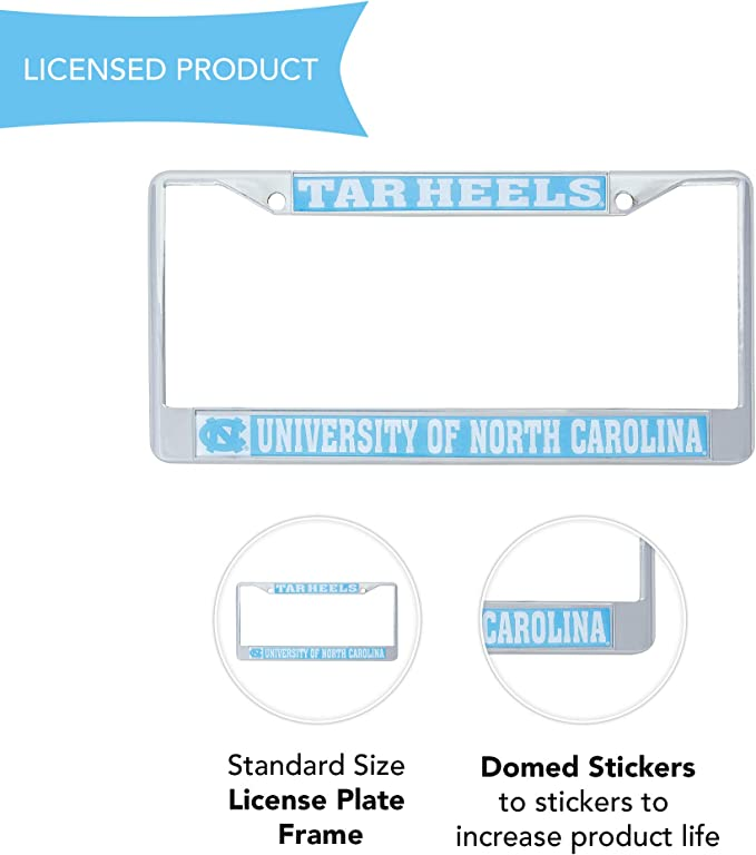 Desert Cactus University of North Carolina Tarheels Metal License Plate Frame for Front Back of Car Officially Licensed Mascot