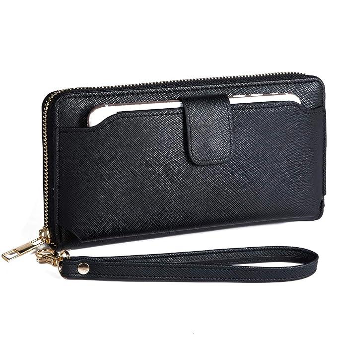 best sneakers 2ae9c 3fd7b Women Wristlet Wallet with Cell Phone Holder RFID Blocking Zip Around  Wallet PU