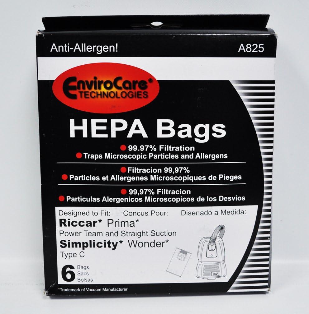 Envirocare Riccar Prima and Simplicity Wonder Type C HEPA Vacuum Bags A825