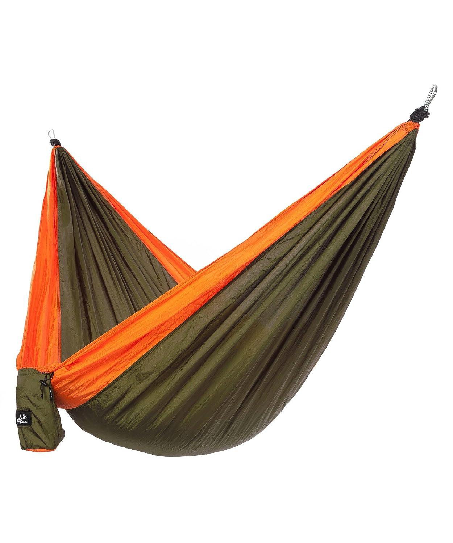 Just Relaxシングルポータブル軽量キャンプハンモック、10.6 X 5フィート B01AVCZDWG Green-Orange Green-Orange
