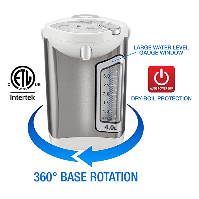 Rosewill r-hap-15002 4.0 litros acero inoxidable eléctrico caliente dispensador de agua con alimentación automática Agua Caliente caldera y calentador, ...