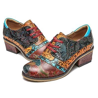 b88b76447c5efc Camfosy Damen Leder Schuhe mit Absatz