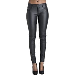 10fef61da599 Womens Leather Look Trousers Wet Look Leggings Slim Fit Jeans Sizes 6 8 10  12 14