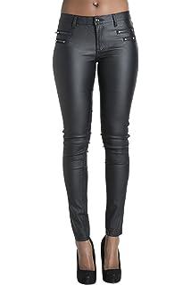 0493bbb9da9e Womens Leather Look Trousers Wet Look Leggings Slim Fit Jeans Sizes 6 8 10  12 14