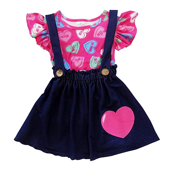 1cb788634 So Sydney Suspender & Skirt 2 Piece Outfit, Girls Toddler Winter & Spring  Holiday Dress
