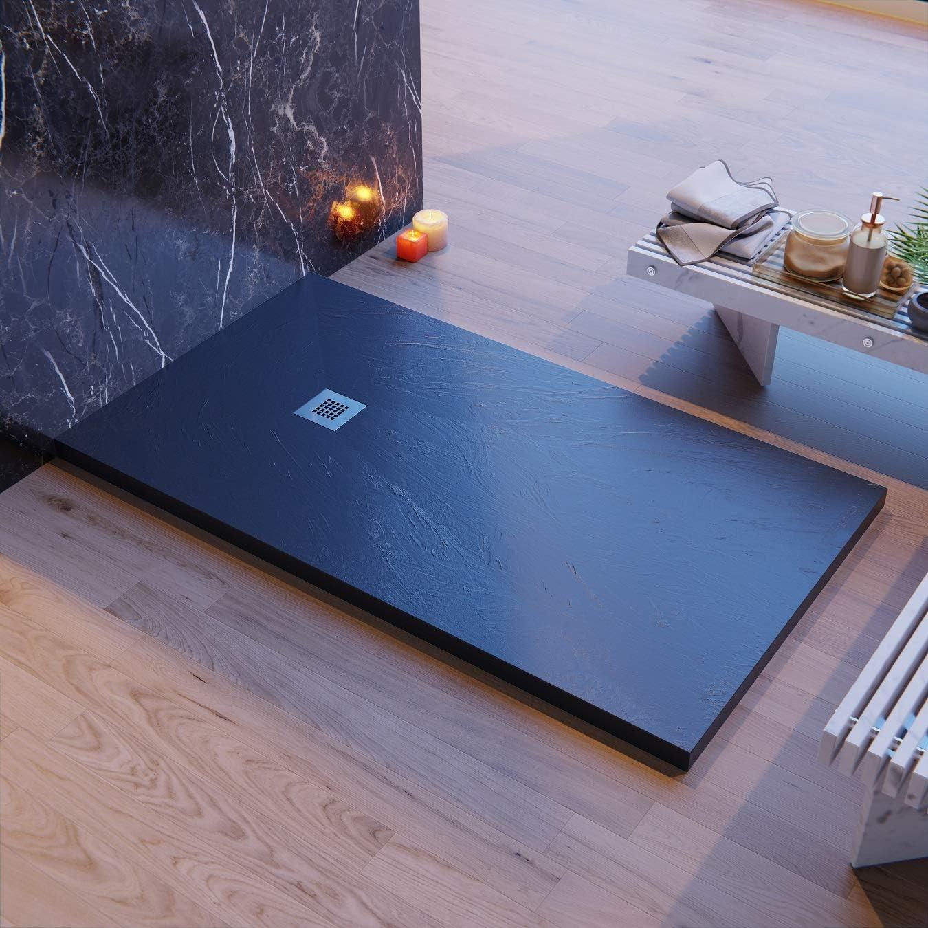 Plato de ducha fabricado en Italia, efecto piedra pizarra, color ...