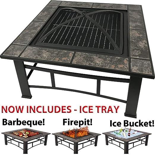 Tavolo Da Giardino Con Barbecue.Raygar Tavolo Quadrato 3 In 1 Da Giardino O Terrazzo Barbecue