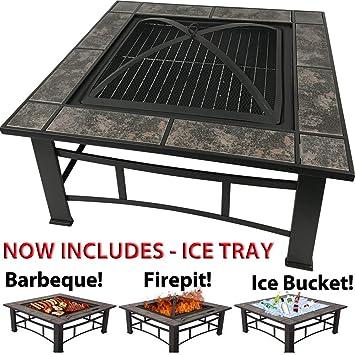 RayGar 3en 1cuadrado Fire Pit BBQ Ice Pit estufa brasero para barbacoa