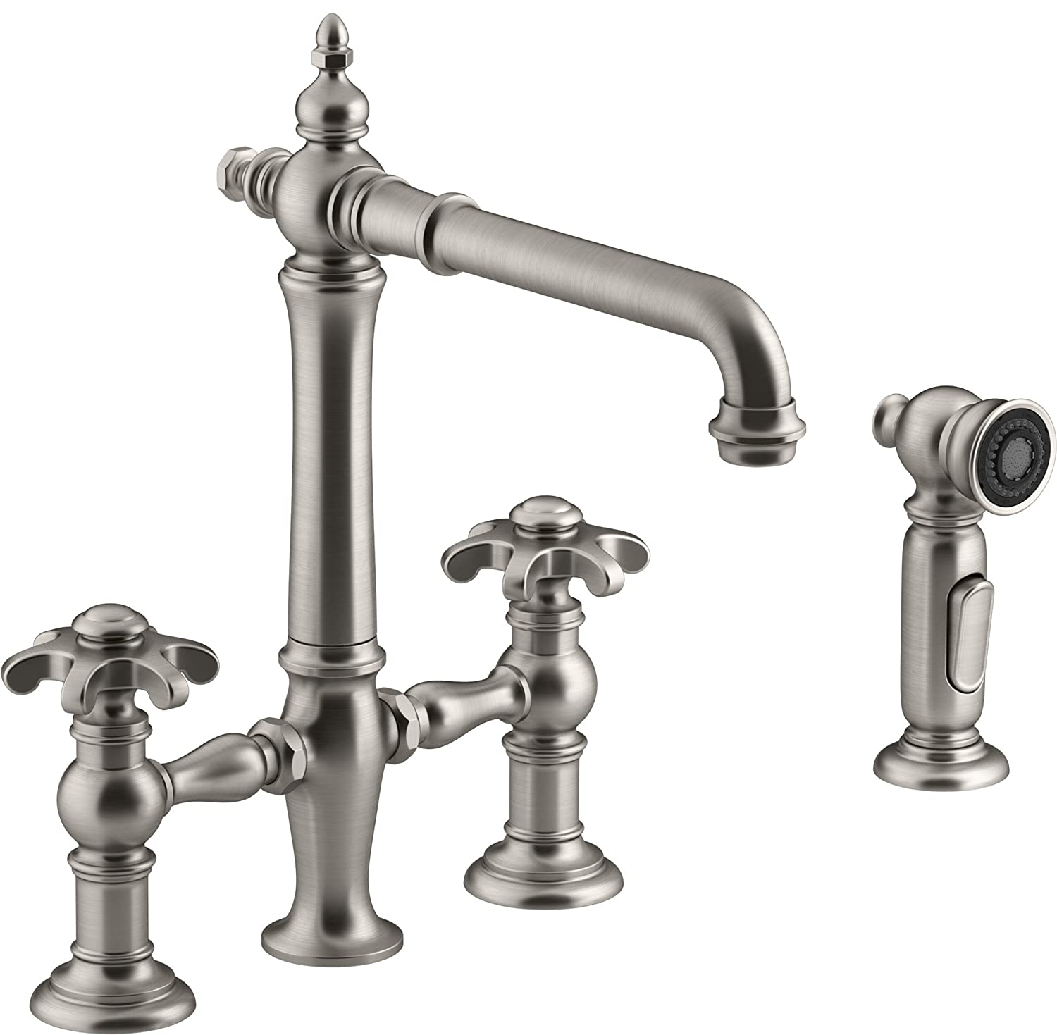 Kohler K-76519-3M-VS Artifacts Deck-Mount Bridge Kitchen Sink Faucet with Prong Handles and sidesprayVIBRANT Stainless