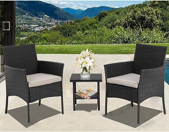 Amazon.com: Wicker Patio Furniture 3 Piece Patio Set Chairs Wicker