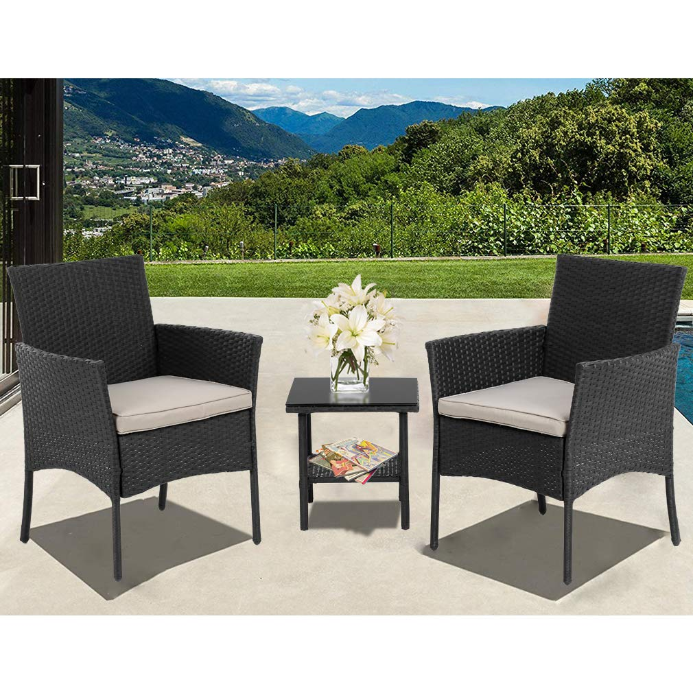 FDW Patio Furniture Sets 3 Pieces Outdoor Bistro Set Rattan Chairs Wicker Conversation Sets with Table Outdoor Garden Furniture Sets,Black
