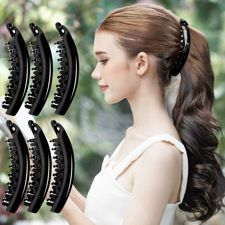 Plastik Einfarbig Banane Haarspangen Haarklammer Kamm Pferdeschwanz Halter # #f