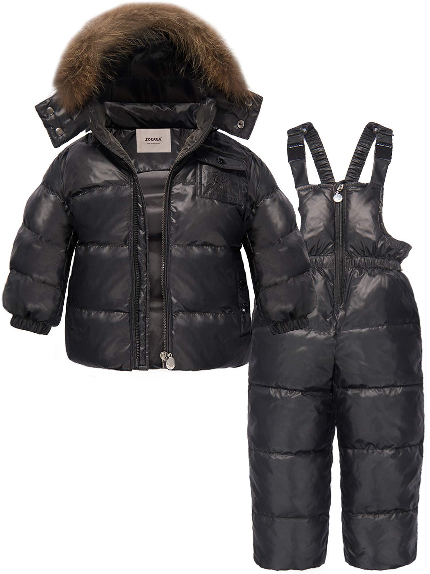 ZOEREA 2 Piece Unisex Kids Girls Snowsuit Hooded Puffer Jacket Snow Pants (Label L/Height 33.46-37.40 inch, Black) by ZOEREA