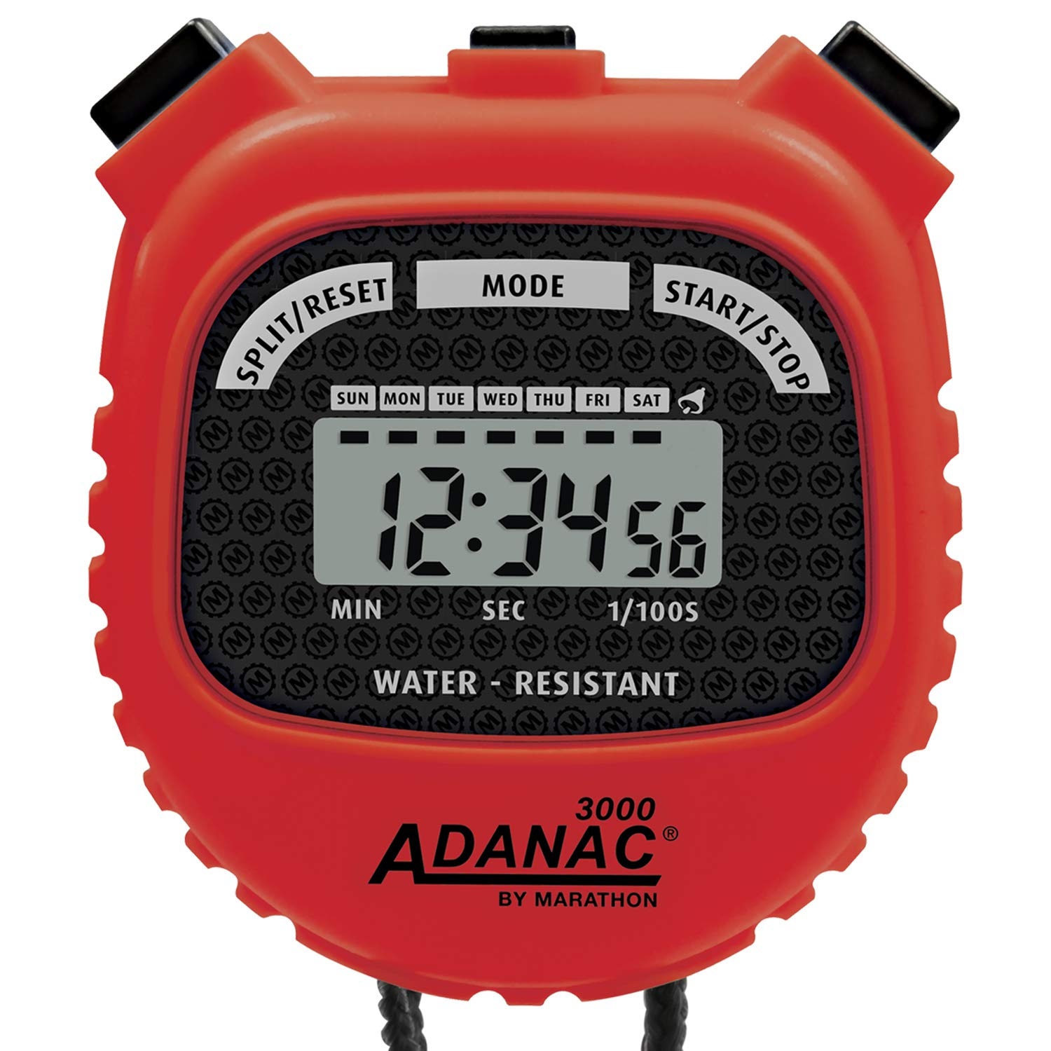 MARATHON Adanac 3000 Digital Sports Stopwatch Timer with Extra Large Display and Buttons, Water Resistant. Color- Red