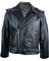 Mens Real Leather Brando Style Classic Retro Biker Jacket