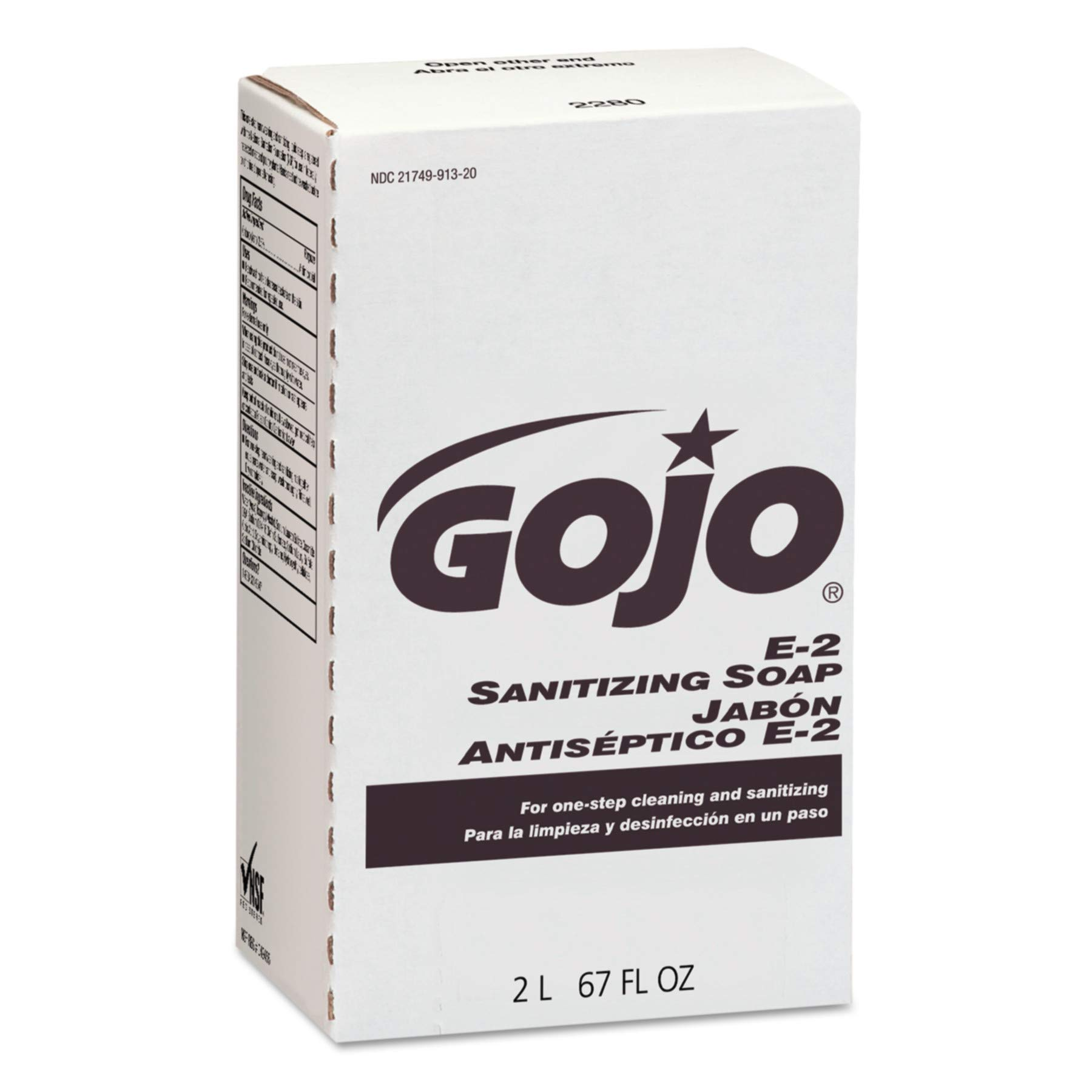 GOJO NXT E2 Sanitizing Lotion Soap, Fragrance Free, 2000 mL Lotion Soap Refill for GOJO NXT Push-Style Dispenser (Case of 4) - 2280-04