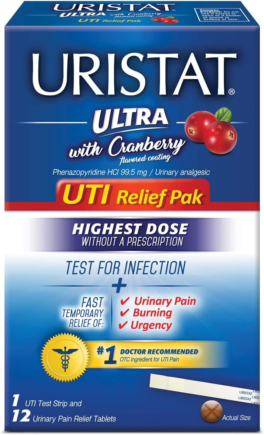 Uristat Ultra UTI Relief Pak, Test for Infection and Urinary Pain Relief, 1 Strip + 12 Tablets