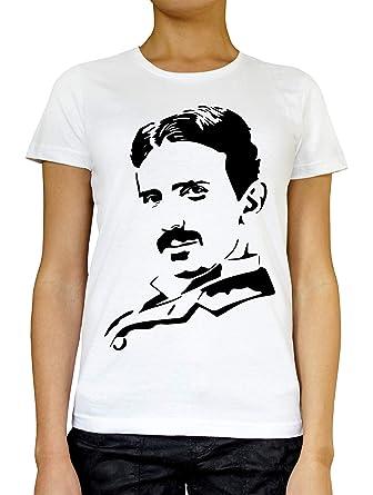 RaMedia Nikola Tesla Black Femme T-Shirt Blanc Gris Noir