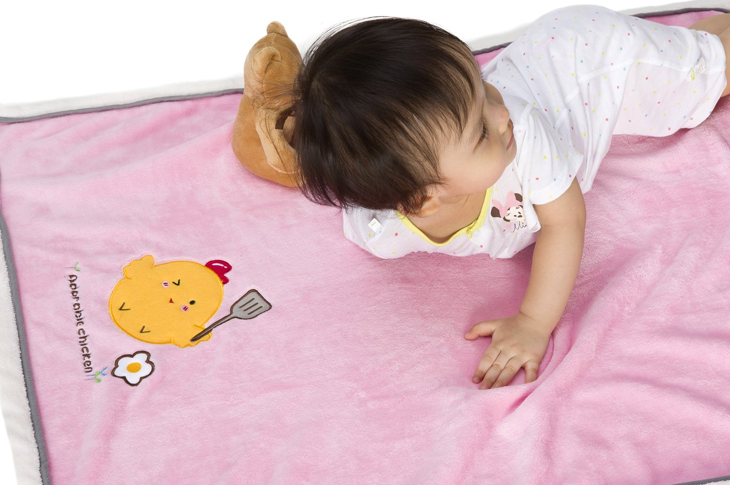 Alcea Rosea Embroidered Adorable Chicken Flannel Yellow Or Pink Baby Blanket Pink
