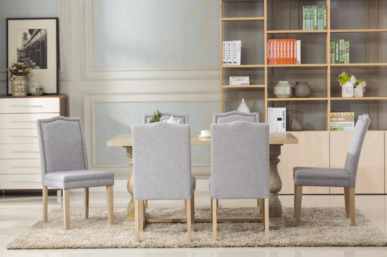 Dara 7 piece dining table set with chairs 6 person seating Light Gray chair and table set - Set includes one (1) dining table and six (6) dining chairs Table dimensions in inches L 63 x W 36X H 32 Modern Dining Table set - kitchen-dining-room-furniture, kitchen-dining-room, dining-sets - 717%2BmkdghiL -