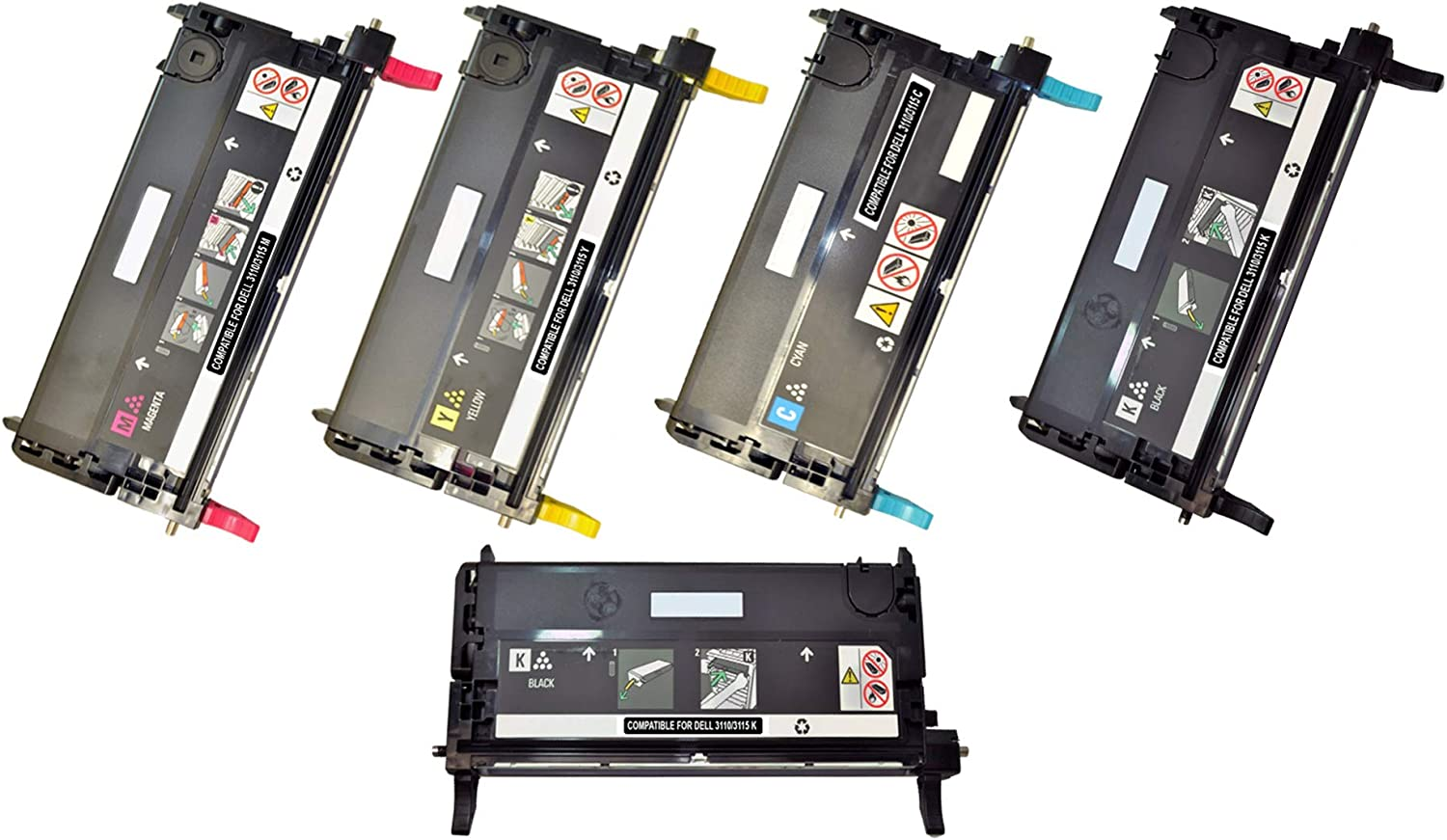 Speedy Toner DELL 3115cn Remanufactured High Yield Capacity Laser Toner Cartridges Replacement for DELL 3110/3115 cn, Set of 5 Toner
