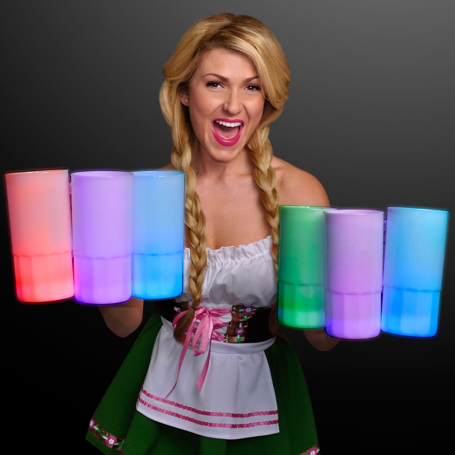 Tall Glow Mug Beer Stein with Multicolor LEDs (Set of 12)