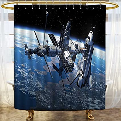 Shower Curtains Bacterial Polyester Liner Station View Cosmonaut Adventure On The Myst Globe Orbit Off