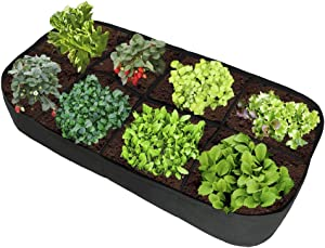 UWIOFF Fabric Raised Garden Bed, 3 ft X 6 ft Divided Raised Vegetable Bed 8 Grids Raised Planting Bed Garden Grow Bags Rectangle Planter for Plants, Flowers and Vegetables
