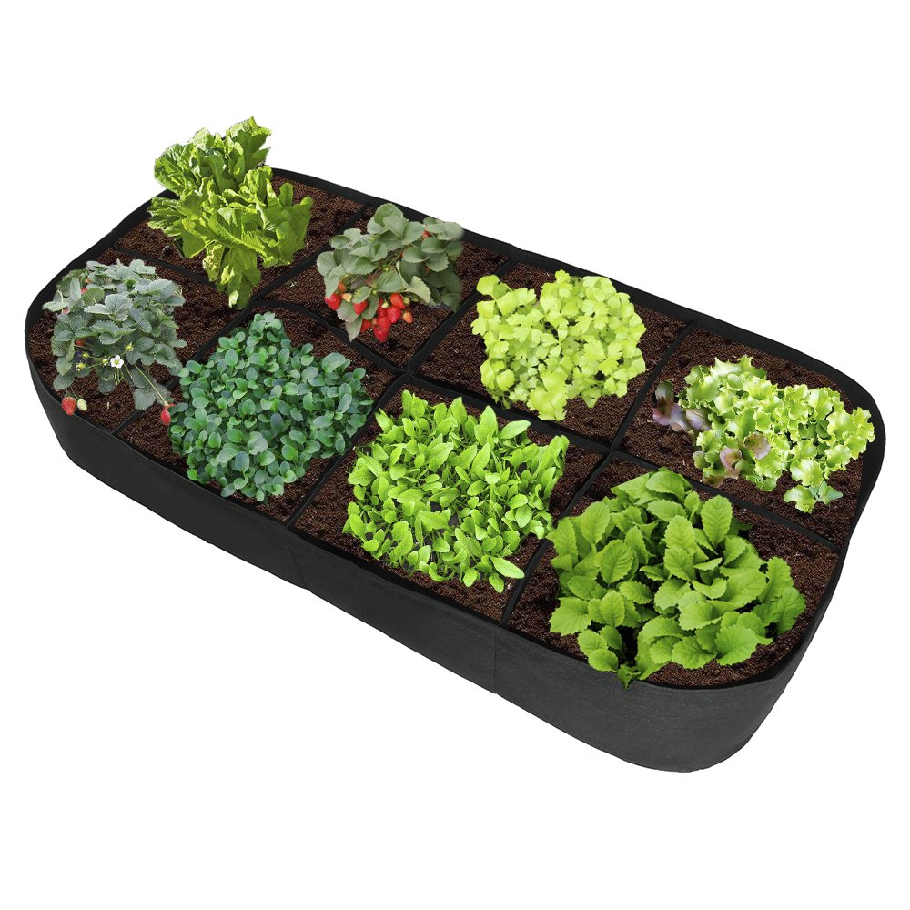 Fabric Garden Plant Bed,Raised Garden Bed,8 Holes Rectangle Planting Container Grow Bag Planter Pot for Plants, Flowers, Vegetables