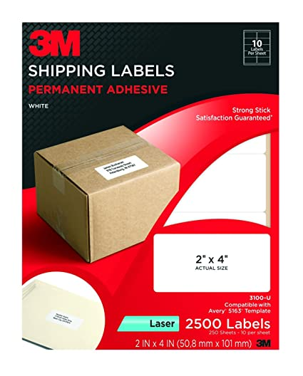 Amazon.com : 3M Permanent Adhesive Shipping Labels, 2 x 4 Inches ...