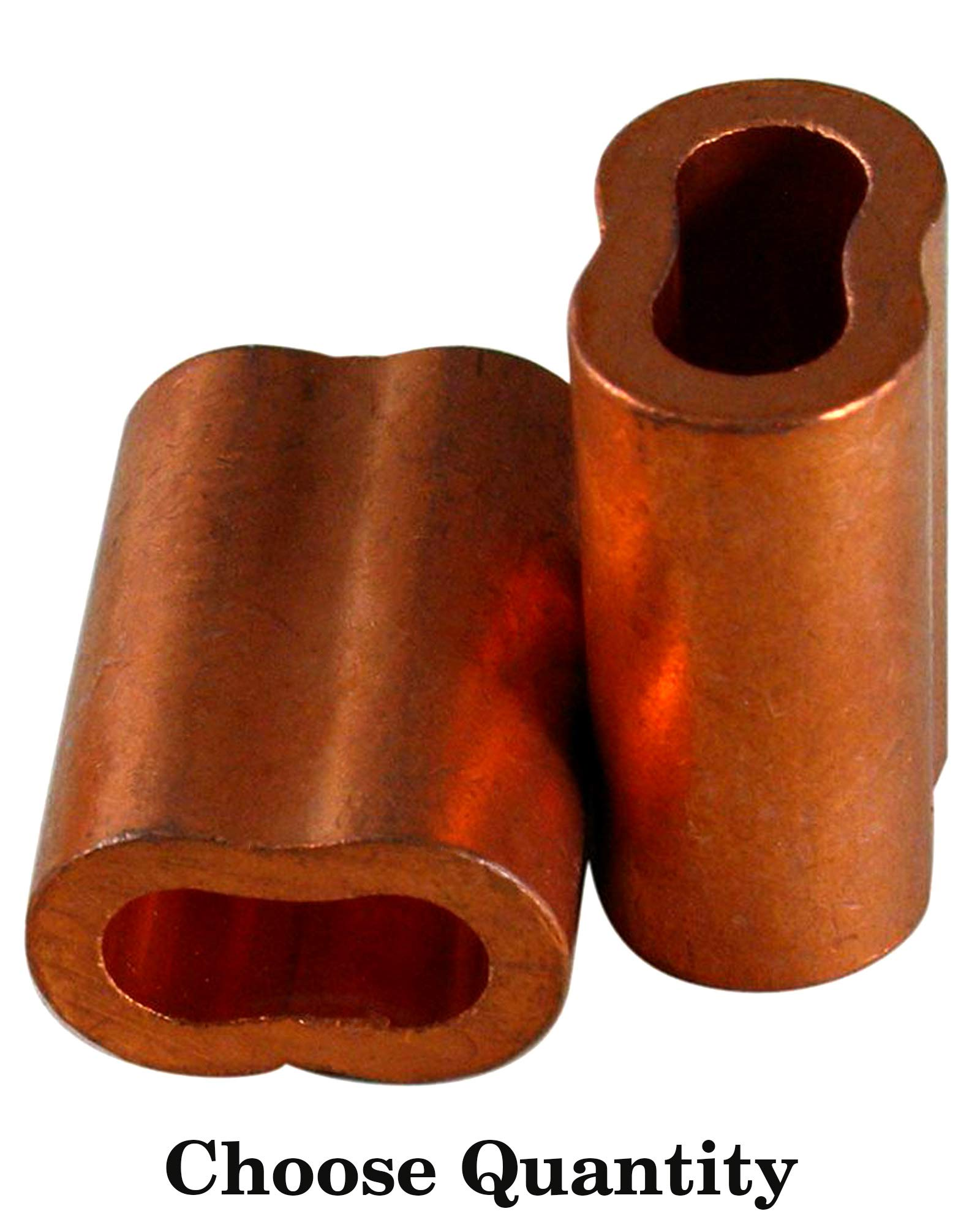 3/32″ Copper Swage Sleeves - Cable Sleeves Cable Crimp Sleeves Crimping Loop Sleeve for 3/32'' Diameter Wire Rope and Cable Wire Rope Crimp Sleeves Loop Sleeve Cable Crimp (100)