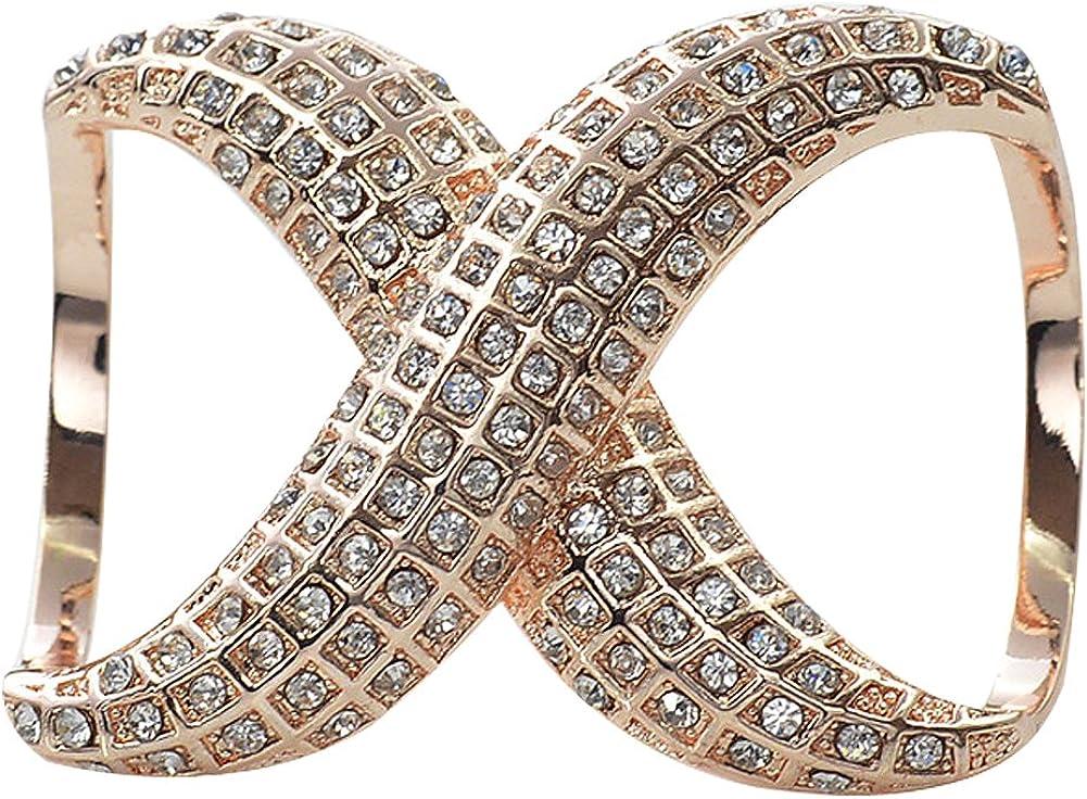 keland La bufanda de seda elegante del diamante del Faux de las mujeres acorta el tenedor de la hebilla del anillo para el banquete de boda