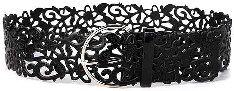 OnIn Silver pin buckle belts flower cummerbund decoration wide strap belt pins womens hollow design lady