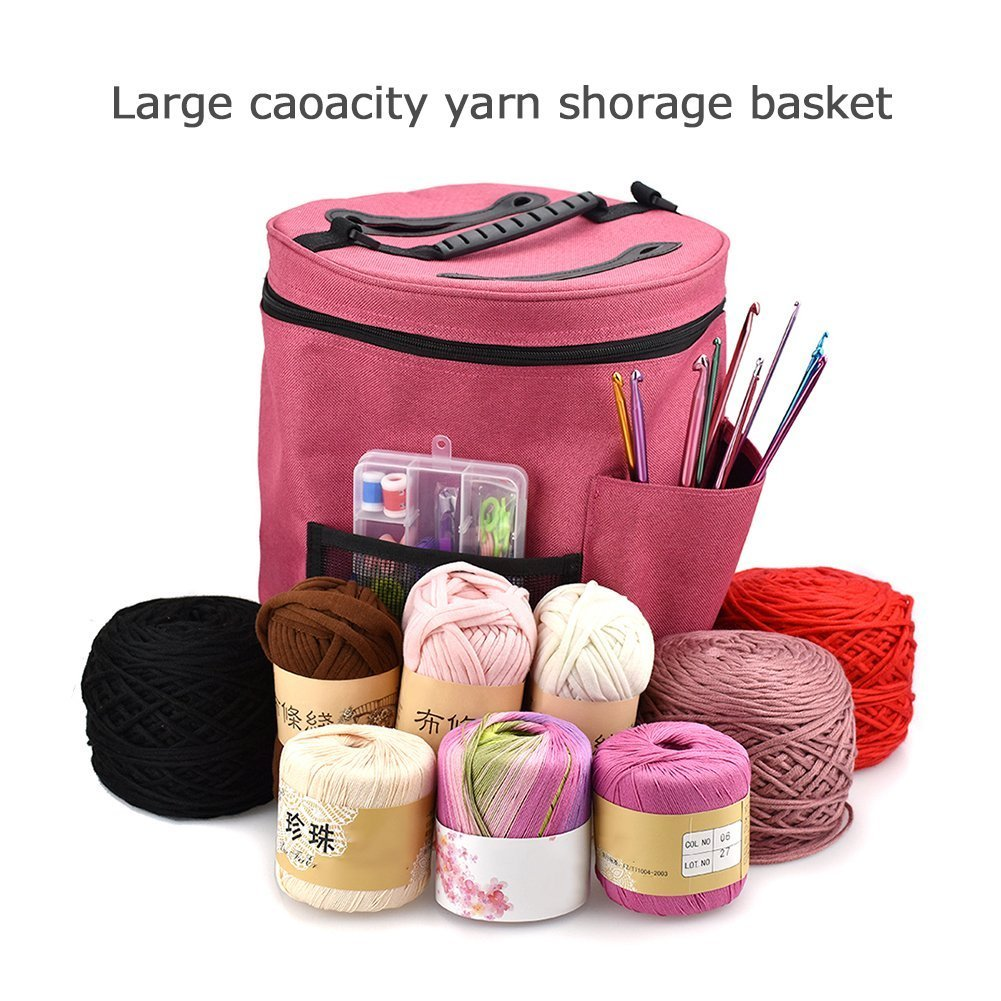 Yarn Storage Round Tote Bag, 28cmx32cm Knitting Crochet Yarn Holder with Pockets Canvas Storage Organizer (Red) shangfu-team