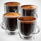 Espresso Cups or Glasses - Set of 4 Double Walled Coffee Shot Glass - 5 ounce Gift-boxed By Anchor & Mill AM-04