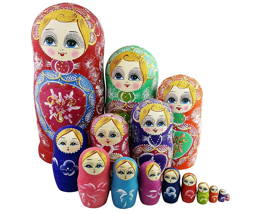 Winterworm Colorful Little Girl Heart Pattern Wooden Handmade Russian Nesting Dolls Matryoshka Dolls Set 15 Pieces for Kids Toy Birthday Home Decoration Collection by Winterworm