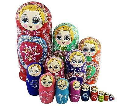 Winterworm Colorful Little Girl Heart Pattern Wooden Handmade Russian Nesting Dolls Matryoshka Set 15 Pieces