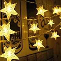 Aluan 50 LED Star String Lights 21FT+3.2FT Christmas Lights, USB & Battery Operated Waterproof Twinkle Fairy Lights with…