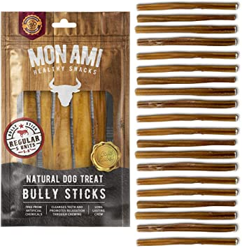 Mon Ami Bully Stick Regular 5-6 inch 11oz. 20 Units Natural Dog Treat - Argentinian Meat