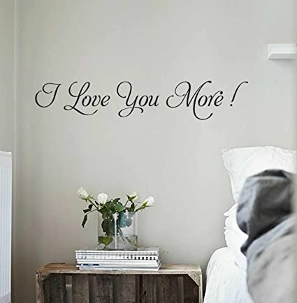 YINGKAI Romantic I Love You More Wall Decal Quote Vinyl Wall Decal For Home  Bedroom Decoration