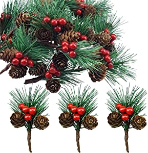 Red Berry Pinecones Pine Needles Stems Picks Artificial Winter Christmas Berries Decor for Crafts Christmas Garland and Holiday Wreath Ornaments, 20 Branch