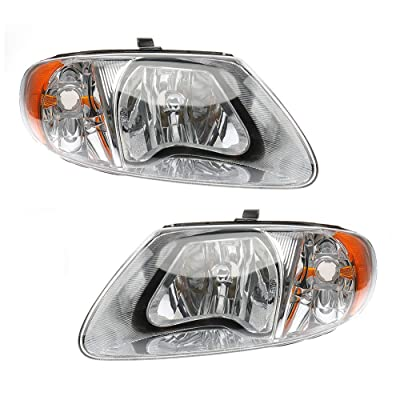 MAYASAF Headlight Assembly Fit 2001-07 Dodge Caravan/Grand Caravan, 2001-07 Chrysler Town & Country/01-03 Voyager, OE Replacement Headlamp Kit, Chrome Housing Amber Reflector Clear Lens (Left+Right): Automotive [5Bkhe0109933]