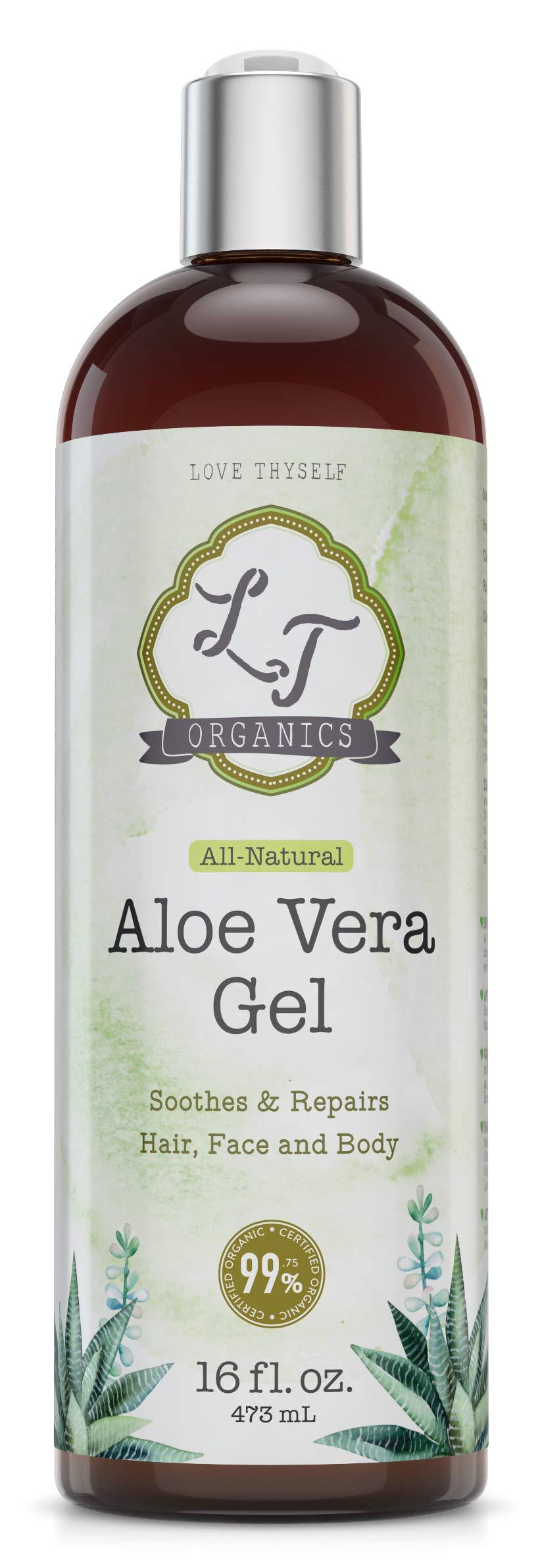 99% USDA Organic-Pure-Aloe-Vera-Gel 16oz| For Face, Hair, Skin Care & Acne, Sunburn, Bug Bite, Rashes, Eczema Relief | 100 Percent Pure & Natural Cold Pressed Aloe Vera | Chemical & Preservative Free by LT Organics