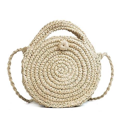 Pawaca Bolso de hombro redondo de paja para mujer - Bolso de tela, bolsos de playa de verano, bolso con cremallera, beige, 8,7 × 2,2 pulgadas